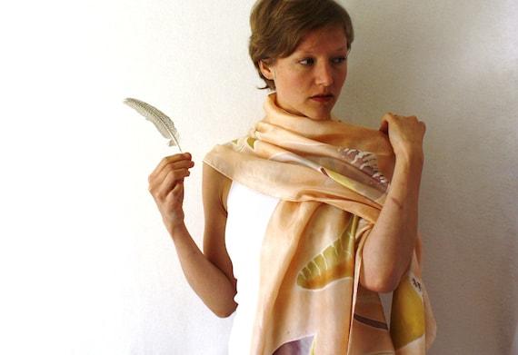Peach Silk Scarf - Mushrooms - Hand Painted Silk Scarf - Spring Fashion- Woodland Silk Scarf
