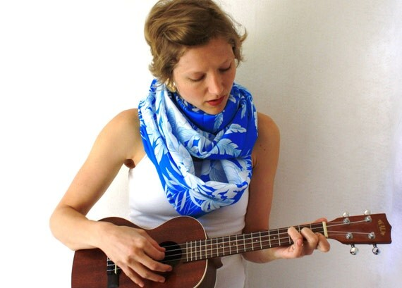 Up-cycled Blue Circle Scarf- Hawaiian - Spring Fashion - Blue and White Infinity Scarf- Long Loop Scarf