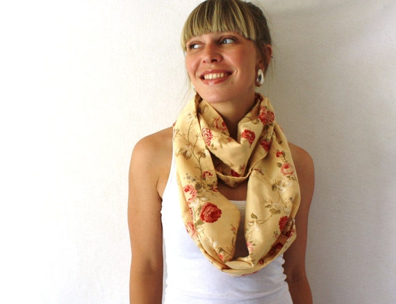 Up-cycled Floral Circle Scarf - Vintage Roses - Tan Infinity Scarf - Summer Fashion - Loop Scarf