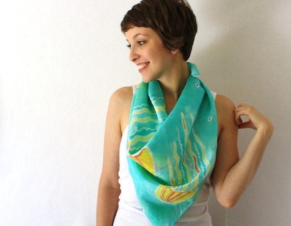RESERVED: For Shalane Aqua Silk scarf, Underwater Jellyfish, Hand Painted Silk Scarf, Summer Fashion Accessory