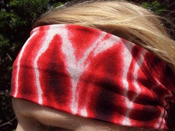 "aBANDin ""Red Hippie"" red, black and white tye dye stretch headband"