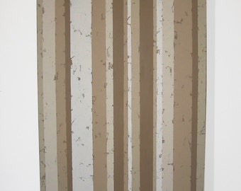 Monochromatic Tan Vertical Texture Strips Color Blocking Canvas Painting