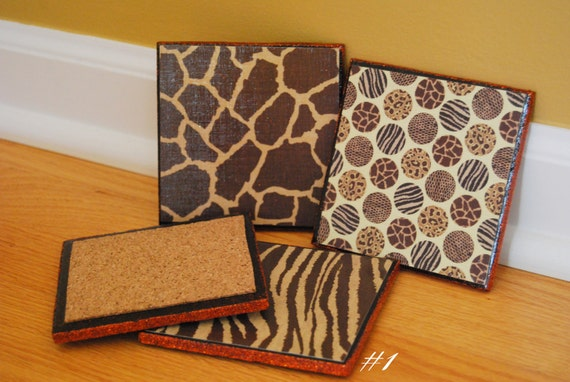 Animal Print Ceramic Tile Coaster set with Glitter Detail