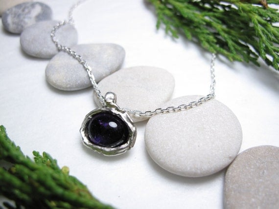Ladies Sterling Silver Genuine  Amethyst Drop Metal Pendant Necklace