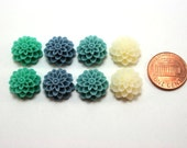 8 pcs Resin Flower Cabochons - 15mm Dahlia - Teal Appeal Mix Assorted Colors