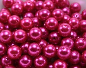 24 pcs Acrylic Pearls - Magenta 10mm