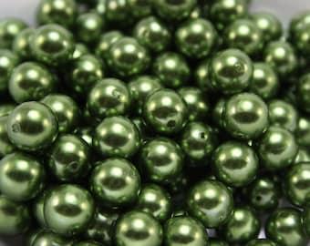 24 pcs Acrylic Pearls - Olive green 10mm