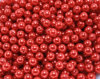 100 pcs Acrylic Pearls - Red 6mm