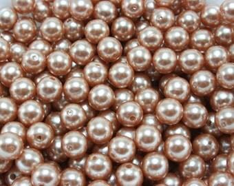 50 pcs Acrylic Pearls - Copper 8mm