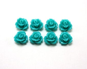 8 pcs Resin Flower Cabochons - 10mm Rose - Teal