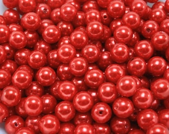 50 pcs Acrylic Pearls - Red 8mm