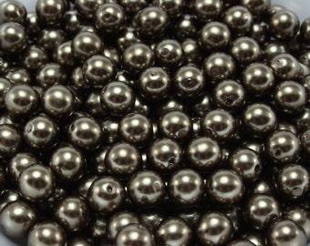50 pcs Acrylic Pearls - Dark Bronze 8mm
