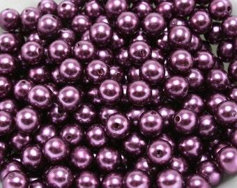 50 pcs Acrylic Pearls - Eggplant Purple 8mm