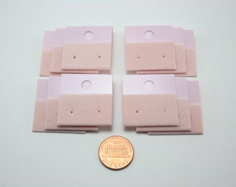 12 pcs Earring Cards - Pastel Pink - plastic base with velveteen strip - 30x30mm