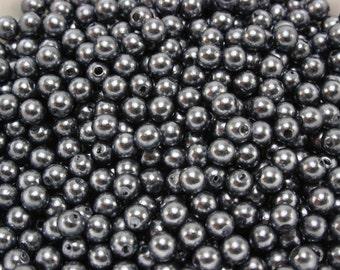 120 pcs Acrylic Pearls - Slate gray 5mm