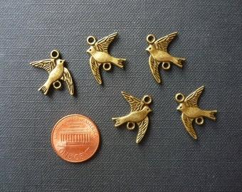 12 pcs Antique Bronze Bird Connectors - Bird Charms - 16mm long from tail to beak