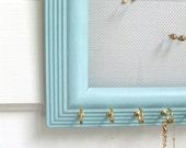 Sky blue jewelry organizer, one piece, wall mounted