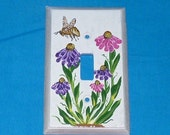 Hand Painted Single Light Switch Plate Wood Wall Plate Outlet Cover Decorative Honey Bee Hummingbird Custom Floral Gift