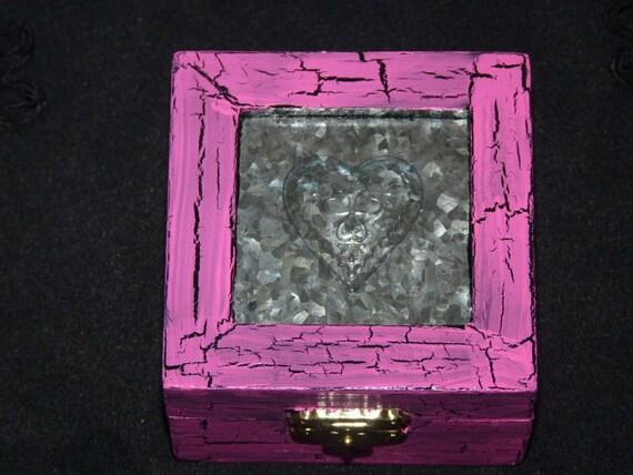 Decorative Wood Heart Box- Wood Box, Victorian, Shabby Chic Box, Pink, Ring Box, Distressed
