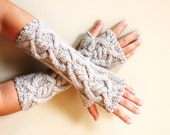 hand knit whole wool long arm wrist warmers fingerless chunky cable mittens natural oatmeal wheat beige women men girl boy toddler unisex