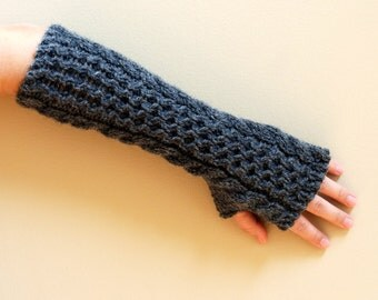hand knit whole wool long arm wrist warmers fingerless chunky cabled mittens warm gift dark gray women men girl children unisex