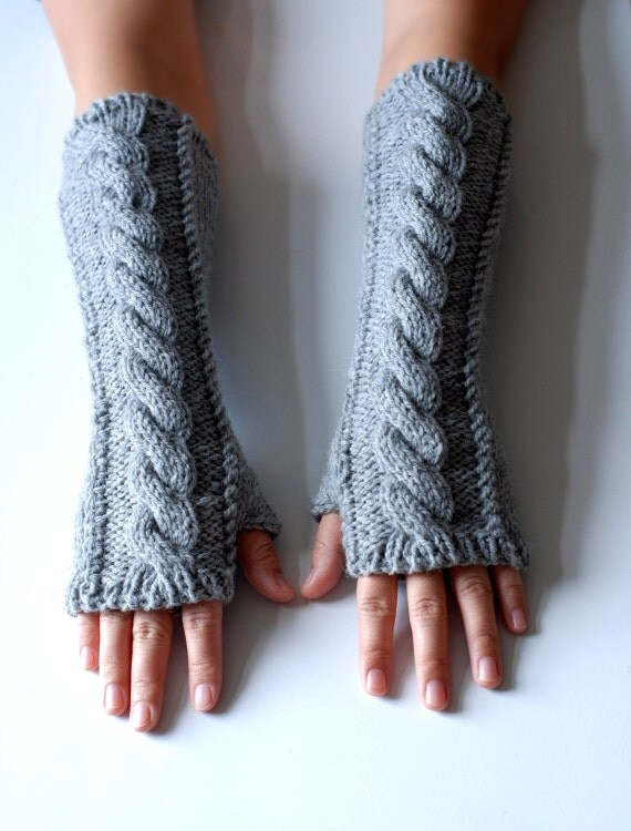 hand knit whole wool long arm wrist warmers fingerless chunky cabled mittens warm gift grey gray women men girl boy children toddler unisex
