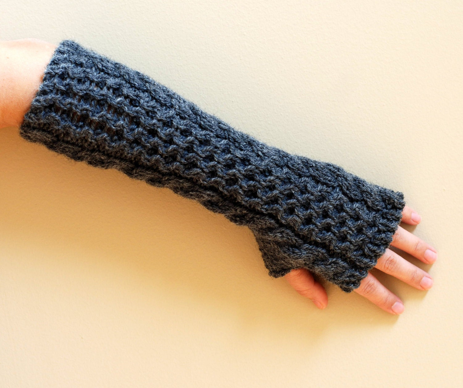 Knitting With Hands And Arms : Hand knit whole wool long arm wrist warmers fingerless chunky