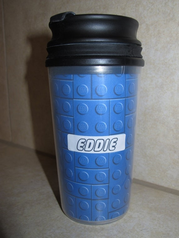 Plastic flip top Cup made with LEGO paper- Personalized or Non-Personalized- Great Gift Idea