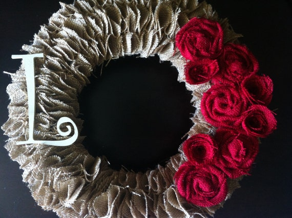 Tan Burlap Wreath with Cream Initial and Red Roses