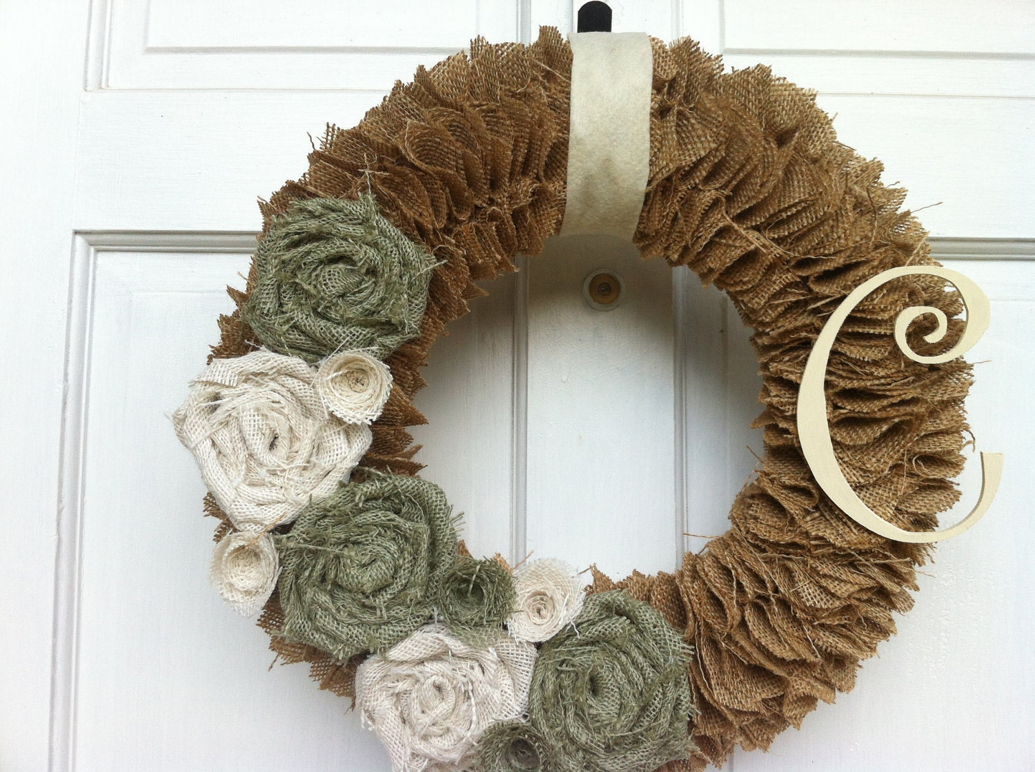 Tan burlap wreath with light green and by jennicopelandcrafts for Burlap wreath with lights