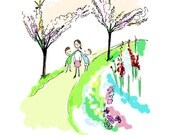 Flavia & Brothers--Deana Sobel, Color Print, Whimsical Illustration, Love, Kids, Nursery, Sister, 8x11, Garden