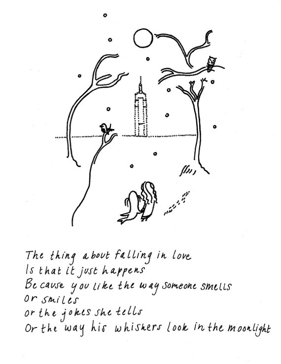 The Thing About Falling In Love--Tree Print, Cartoon Drawing, Animals, Black and White, Ink Print, Watercolor, Sea Lion