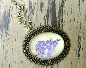 Springtime Art Hand Painted Necklace, Art Jewelry Handmade - Lilac, Antique White, Vintage Style, FREE shipping