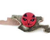 Wood Brooch  Red Fox Art Hand Painted
