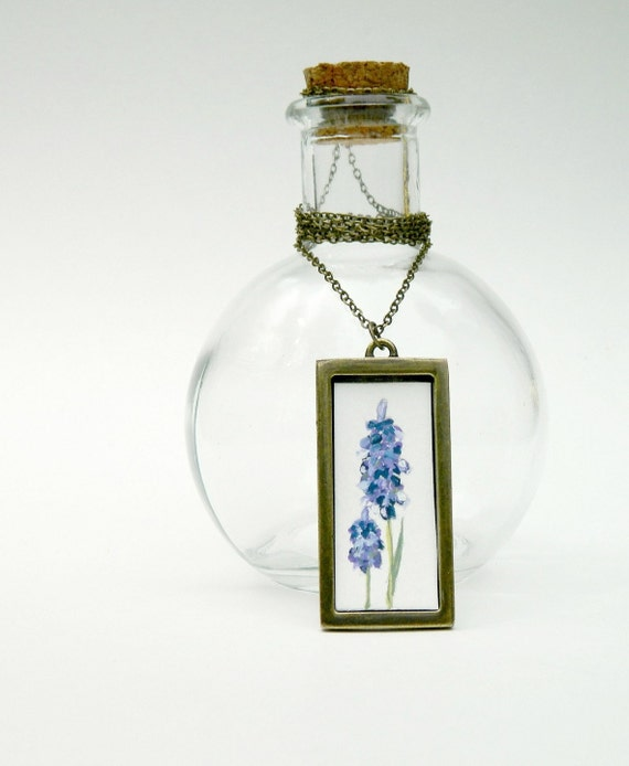 christmasinjuly Art Hand Painted Necklace -Flowers  Original botanical flowers