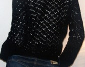 Black Hand Crochet Cardigan/ Cardigan Sweater/ Crohet Cardigan