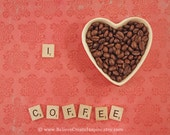 Scrabble Photography - I Love Coffee Print - Retro Wall Art - Kitchen Decor Pink/Red 8x10