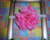 Pink Flower Headband--Babies--Adjustable Soft Elastic Band to Grow With Your Child