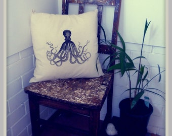 Screenprinted Octopus Cushion Nautical handmade tattoo alternative Wedding