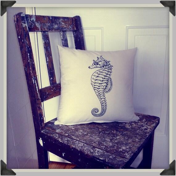 Screenprinted Seahorse Cushion Nautical  handmade