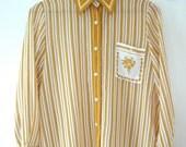 Vintage 70s Retro Yellow Striped Button Down Shirt