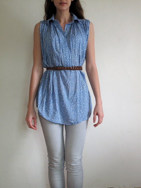 Baby Blue and While polka dot blouse with collar