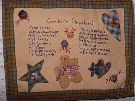 Primitive Kitchen Wall Decor-Embroidered Grandma's Gingerbread Recipe