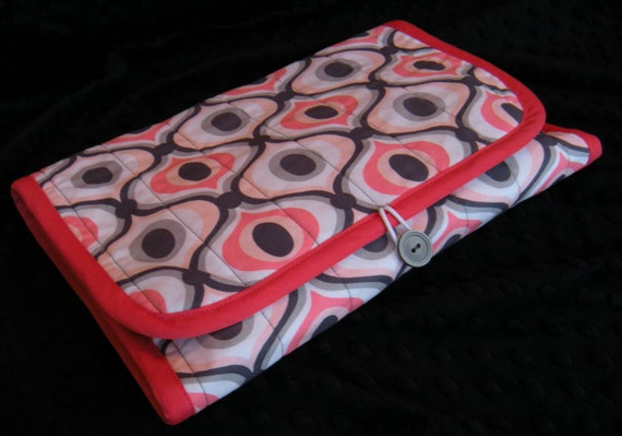 Diaper Clutch with Changing Pad - 100% Cotton Fabric - Michael Miller Groovy with Soft Gray Minky Dot