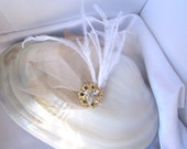 Unique bridal gold leaf and ostrich feather fascinator - free shipping