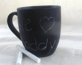 Teacher Father Dad Coffee Mug Cup Chalk Board Message Ceramic  Repurpose Recycle