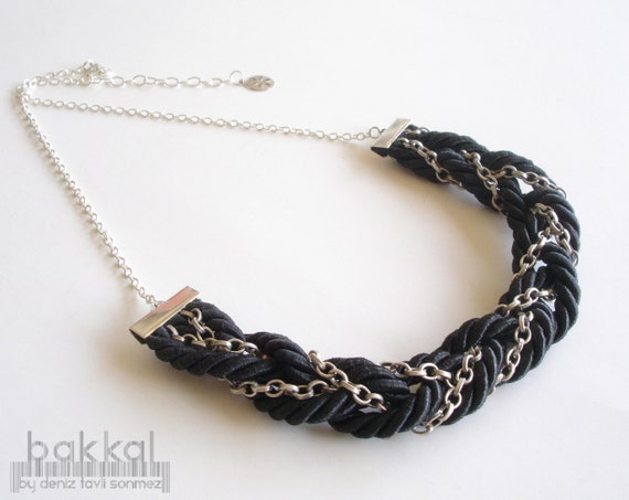 Black Cord Necklace, Rope Necklace, Braided Necklace, Sailors Knot Necklace, Black Necklace, Cord Necklace,Nautical Necklace, Everyday
