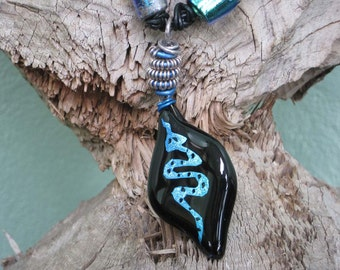 """Dichroic Glass Necklace - Torched, Etched and Fused """"Blue Reptile"""" Necklace Statement Necklace, OOAK"""
