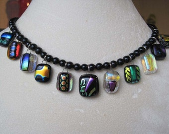 Fused Dichroic Colorful Charm Necklace With Black Onyx Beads, OOAK, Art to Wear, Multi Color Necklace, Glass Charm Necklace