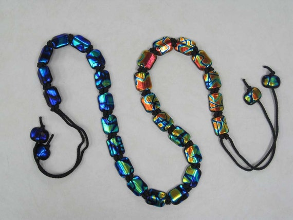 Belt, Fused Dichroic Glass Belt - Cool to Hot - Jewelry For Your Waist or Hip- Glass Belt, OOAK